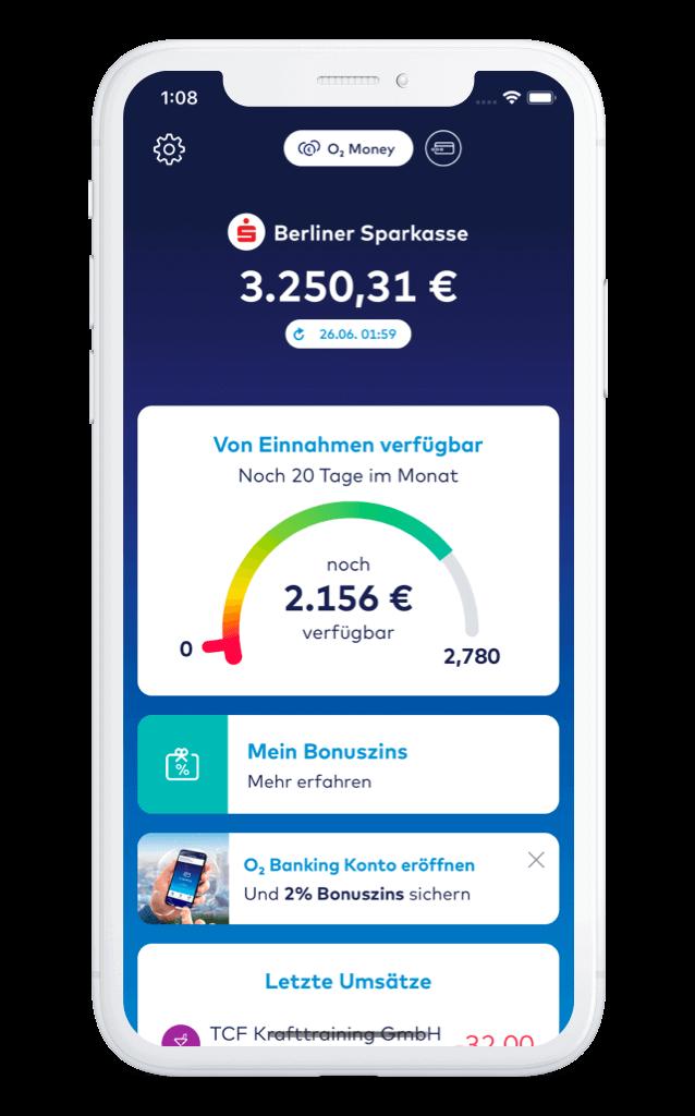 o2 Money App Dashboard – comdirect