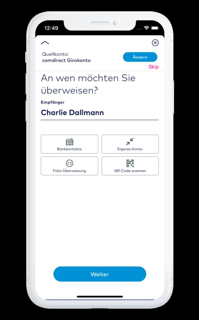 o2 Money App Überweisung – comdirect