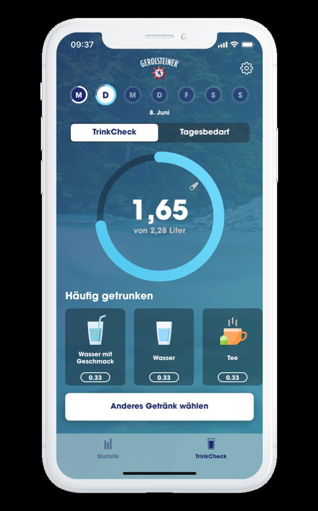 Gerolsteiner TrinkCheck App – Startseite iPhone