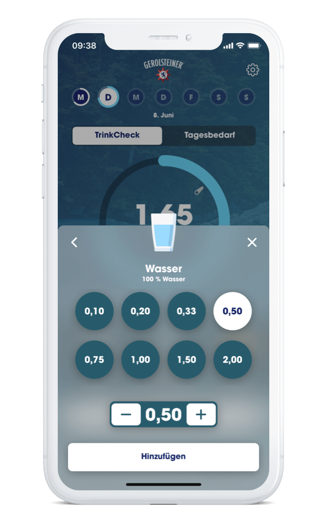 Gerolsteiner TrinkCheck App – Getränk hinzufügen iPhone