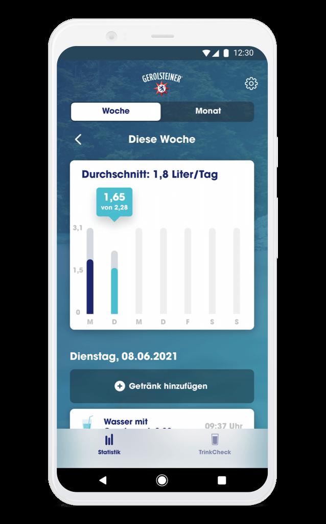 Gerolsteiner TrinkCheck App – Statistik Android Phone